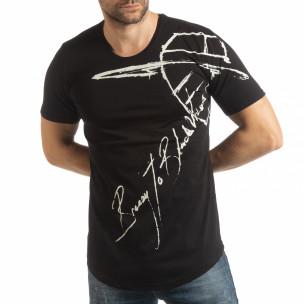 Ανδρική μαύρη κοντομάνικη μπλούζα με καλλιγραφικό πριντ