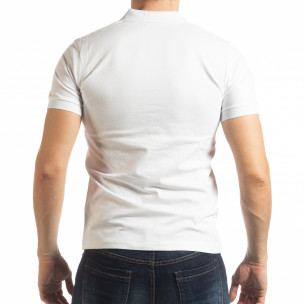 Ανδρική λευκή κοντομάνικη πόλο με λεπτομέρειες  2