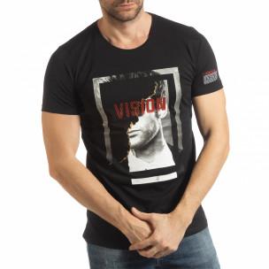 Ανδρική μαύρη κοντομάνικη μπλούζα Vision