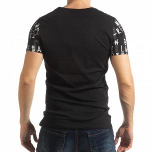 Ανδρική μαύρη κοντομάνικη μπλούζα με επιγραφές  2