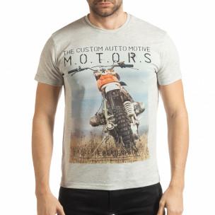 Ανδρική γκρι μελάνζ κοντομάνικη μπλούζα με πριντ