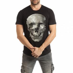 Ανδρική μαύρη κοντομάνικη μπλούζα με νεκροκεφαλή