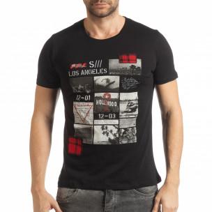 Ανδρική μαύρη κοντομάνικη μπλούζα σε στυλ Patchwork