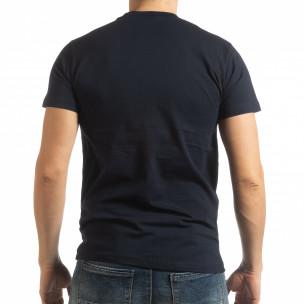 Ανδρική σκούρα μπλε κοντομάνικη μπλούζα Sound  2