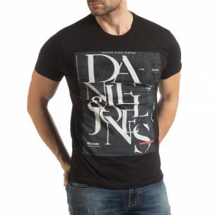 Ανδρική μαύρη κοντομάνικη μπλούζα Denim Company