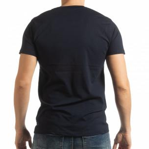 Σκούρα μπλε ανδρική κοντομάνικη μπλούζα Enjoy Your Life  2