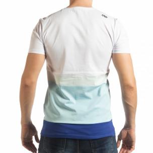 Ανδρική λευκή-μπλε κοντομάνικη μπλούζα   2