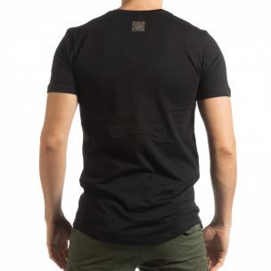Ανδρική μαύρη κοντομάνικη μπλούζα με ασημί πριντ 2
