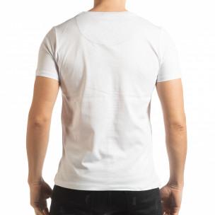Ανδρική λευκή κοντομάνικη μπλούζα σε στυλ Patchwork 2