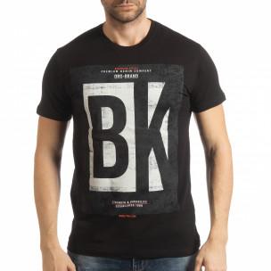 Ανδρική μαύρη κοντομάνικη μπλούζα BK