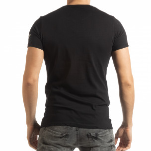 Ανδρική μαύρη κοντομάνικη μπλούζα με πριντ 2