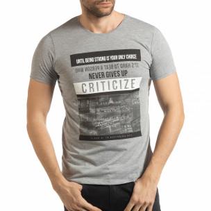 Ανδρική γκρι κοντομάνικη μπλούζα Criticize