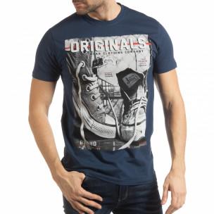 Ανδρική μπλε κοντομάνικη μπλούζα Originals