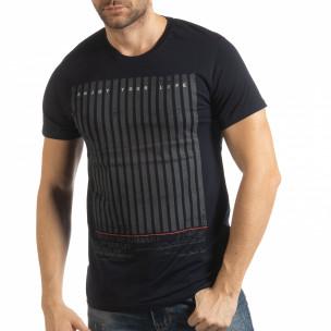 Σκούρα μπλε ανδρική κοντομάνικη μπλούζα Enjoy Your Life