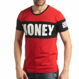 Ανδρική κόκκινη κοντομάνικη μπλούζα Money