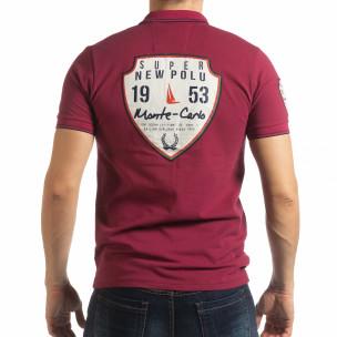 Ανδρική μπορντό κοντομάνικη polo shirt Royal cup  2