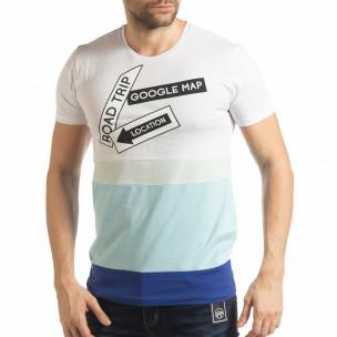 Ανδρική λευκή-μπλε κοντομάνικη μπλούζα
