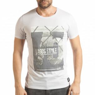 Ανδρική λευκή κοντομάνικη μπλούζα με πριντ Lagos Style