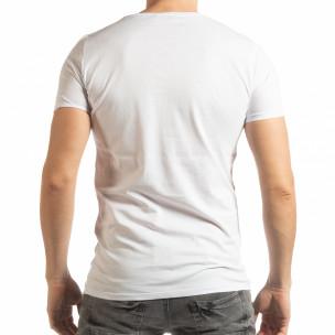 Ανδρική λευκή κοντομάνικη μπλούζα με πριντ Lagos Style   2