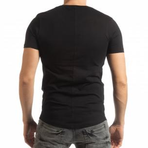 Basic ανδρική μαύρη κοντομάνικη μπλούζα   2