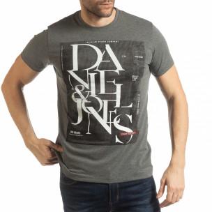 Ανδρική γκρι κοντομάνικη μπλούζα Denim Company