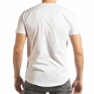 Ανδρική λευκή κοντομάνικη μπλούζα με νεκροκεφαλή  2