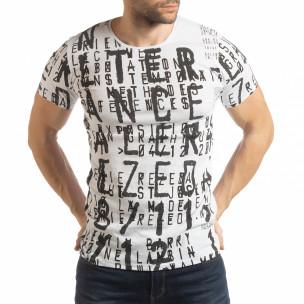 Ανδρική λευκή κοντομάνικη μπλούζα με επιγραφές