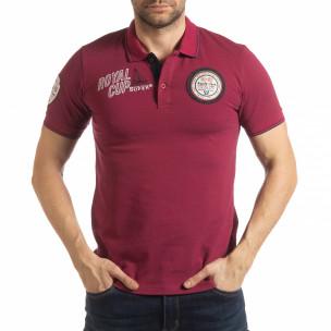Ανδρική μπορντό κοντομάνικη polo shirt Royal cup