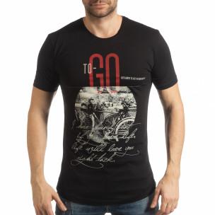 Ανδρική μαύρη κοντομάνικη μπλούζα To-Go