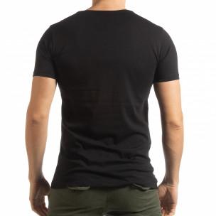 Ανδρική μαύρη κοντομάνικη μπλούζα με πριντ Lagos Style  2
