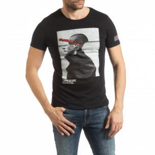 Ανδρική μαύρη κοντομάνικη μπλούζα με πριντ 1982