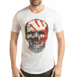 Ανδρική λευκή κοντομάνικη μπλούζα με νεκροκεφαλή