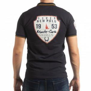 Ανδρική σκούρα μπλε κοντομανική polo shirt Royal cup  2