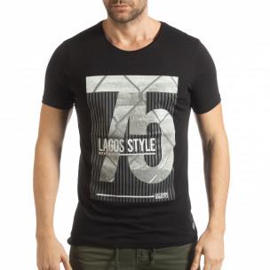 Ανδρική μαύρη κοντομάνικη μπλούζα με πριντ Lagos Style