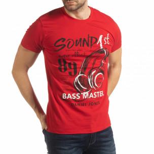 Ανδρική κόκκινη κοντομάνικη μπλούζα Sound