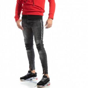 Ανδρικό γκρι τζιν Worn Jeans με λεπτομέρειες