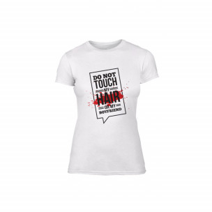 Γυναικεία Μπλούζα Don't touch me! λευκό Χρώμα Μέγεθος M