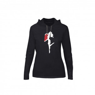Γυναικεία Μπλούζα Half Heart μαύρο, Μέγεθος M