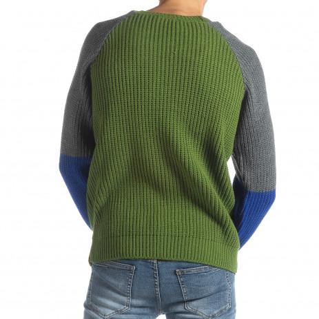 Ανδρικό πουλόβερ σε πράσινο, γκρι και μπλε 2