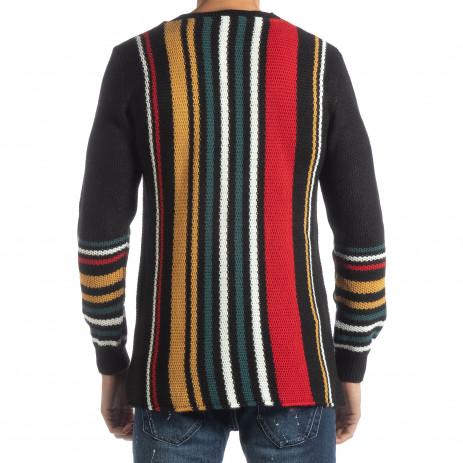 Ανδρικό μαύρο πουλόβερ με πολύχρωμο ριγέ 2