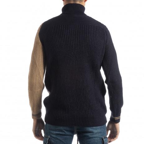 Ανδρικό πουλόβερ σε σκούρο μπλε και μπεζ 2