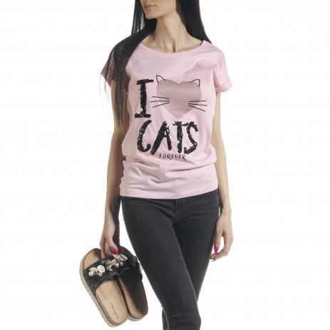 Γυναικεία ροζ κοντομάνικη μπλούζα με πριντ