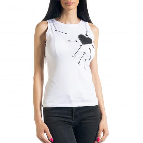 Γυναικεία λευκή αμάνικη μπλούζα 2
