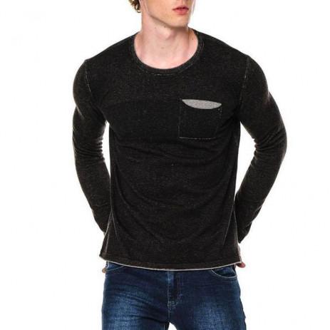 Ανδρικό μαύρο πουλόβερ με τσέπη