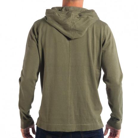 Ανδρικό πράσινο πουλόβερ με κουκούλα RESERVED 2