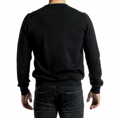 Ανδρικό μαύρο πουλόβερ Code Casual 2