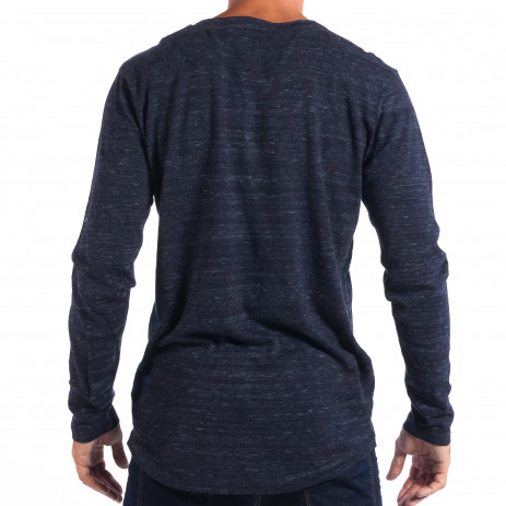 Ανδρικό μπλε πουλόβερ με κομπιά V-neck House 2