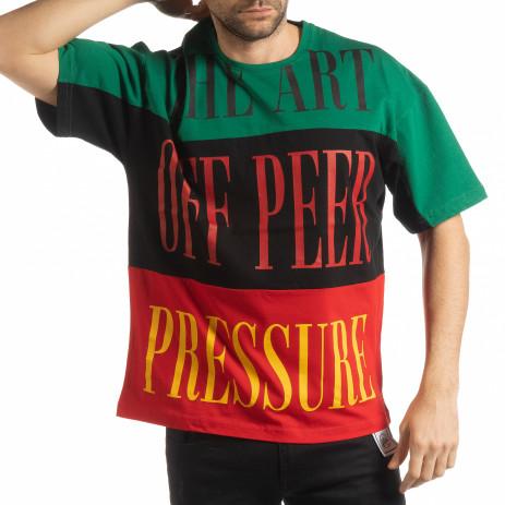 Ανδρική κοντομάνικη μπλούζα με πράσινο, μαύρο, κόκκινο χρώμα