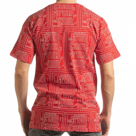 Ανδρική κόκκινη κοντομάνικη μπλούζα   2