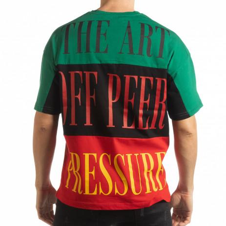 Ανδρική κοντομάνικη μπλούζα με πράσινο, μαύρο, κόκκινο χρώμα 2